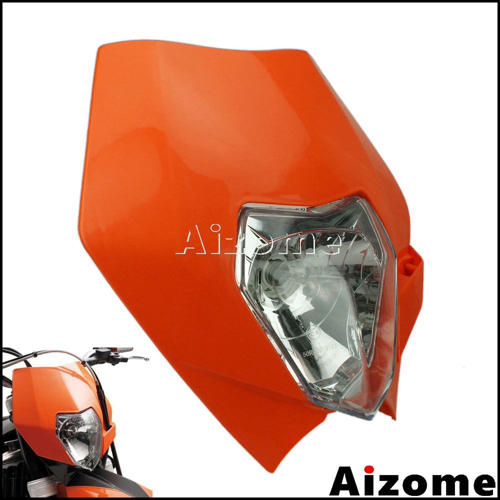 Universal Motocross Enduro 12V Headlight Fairing Dirt Bike 35W Headlamp Head Light For KTM MX XCF XC SX SXF Headlight Orange