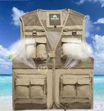 Men's cotton fishing vest Multi Pocket outdoor photography mesh breathable vest