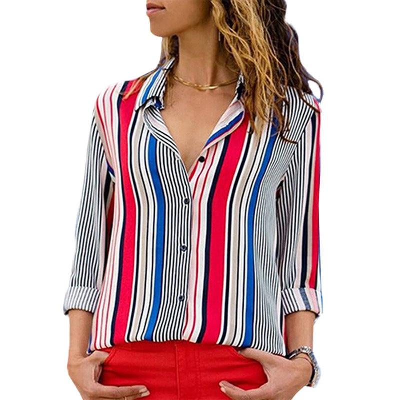 Women Autumn Shirts Striped V Neck Chiffon Long Sleeves Casual Cardigan Loose Tops FS99