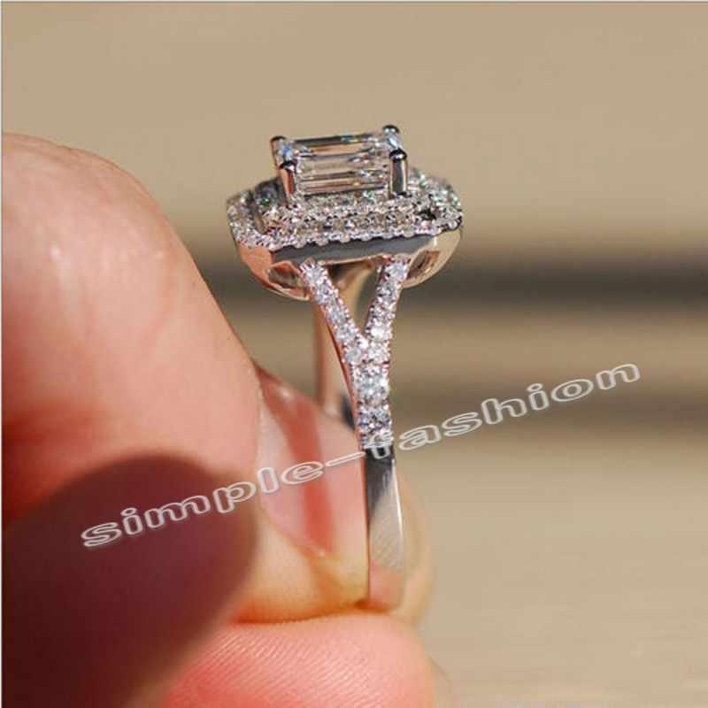แฟชั่นเครื่องประดับแหวนหมั้น Princess cut Cz 5A Zircon หิน 10KT White Gold Filled แหวน Sz 5-11