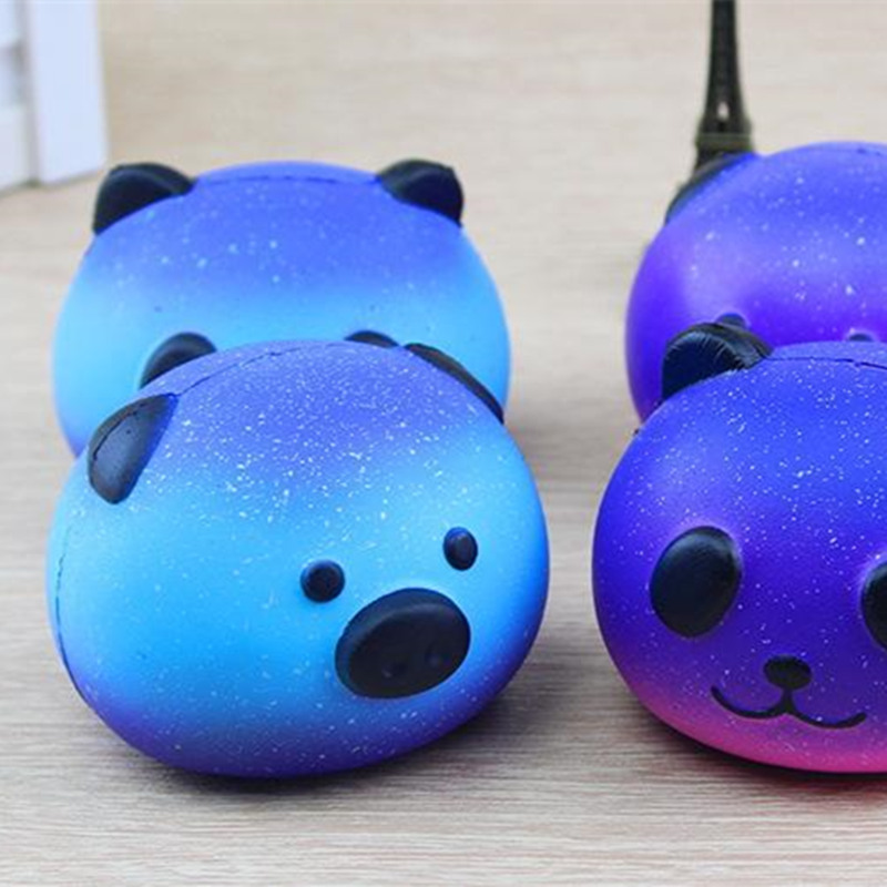 8.5cm Starry sky universe Pig head PU Squishy Slow Rising Pendant Phone Straps Charms Queeze Kid Toys Cute squishies Bread