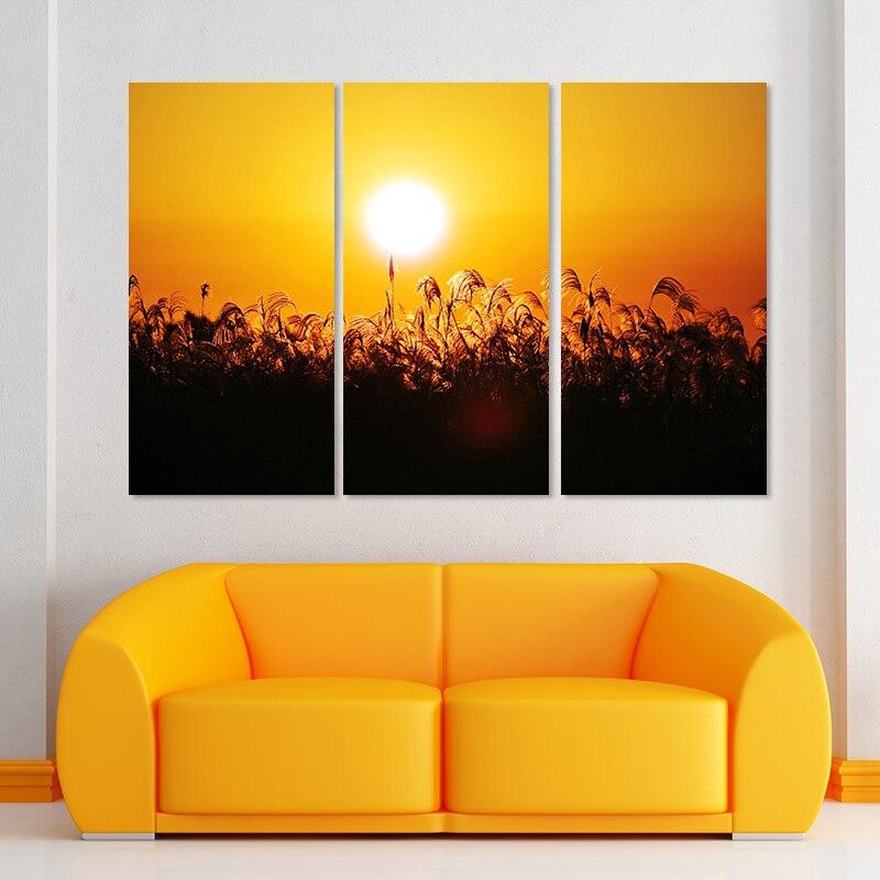 Big size straw 3pcs village decoration sun wall art pictures sunset ...