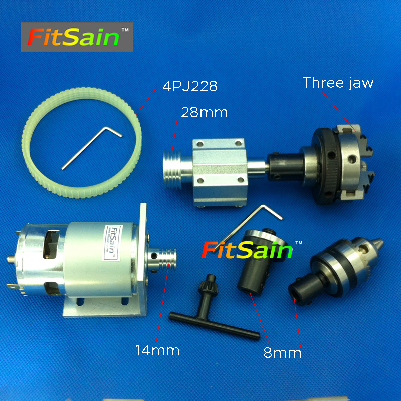 FitSain-775 DC24V 8000RPM motor pulley three jaw chuck D=50mm B12 drill chuck Cutting saw part Pulley mini Lathe table saw blade right angle drill attachment three jaw chuck key adapter handle accessory tool