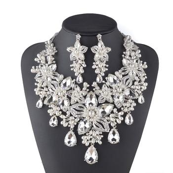 Luxury Rhinestone Clear Bridal Wedding Jewelry Flower Design Women Party Necklace earrings Crystal Pear Jewelry Sets