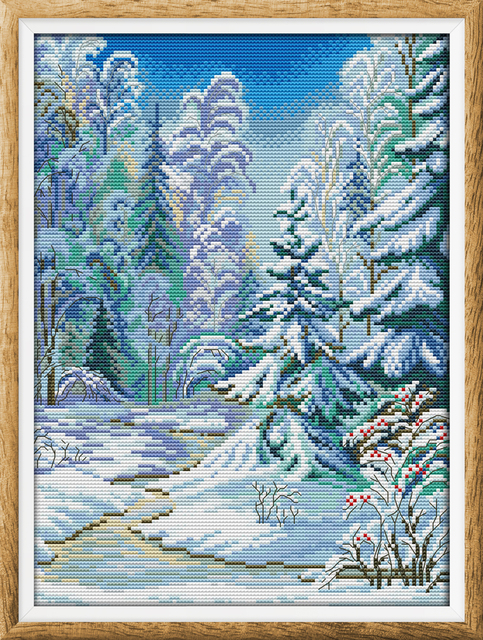 Winter forest cross stitch