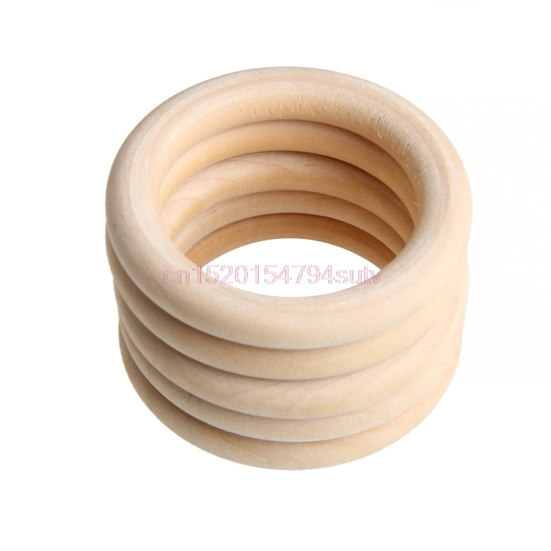 5pcs 70mm Baby Wooden Teething Rings Necklace Bracelet DIY Crafts Natural New #H