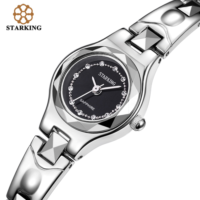 STARKING Women Quartz Watches Tungsten Luxury Fashion Casual Famous Brand 2016 New Arrival Rhinestone Black Watch BL0415 almost famous new black tough love sweater msrp $49 00