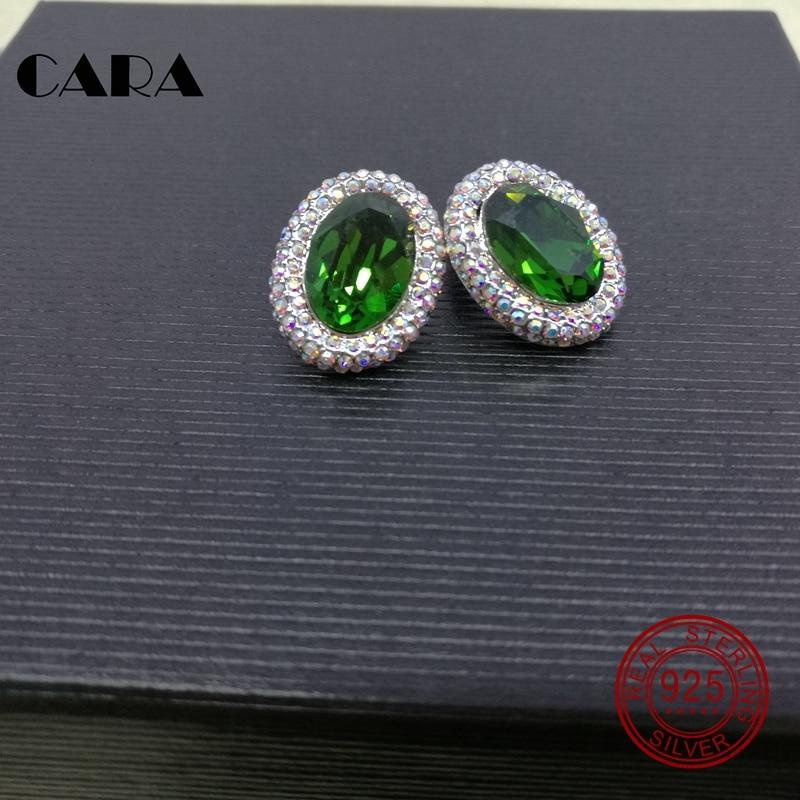 2019 nouvelles boucles d'oreilles en cristal d'autriche 925 en argent Sterling femmes ovales Stud vert bijoux en cristal boucles d'oreilles CARA0012