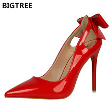 BIGTREE Pink White Women Pumps Patent Leather High Heel Dress Shoes Bowknot Butterfly Knot Bow Cut Out Sandals Woman Stilettos недорого