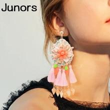 luxe shell handmade big earrings for women boho tassel hanging luxury fashion jewelry shells female gift