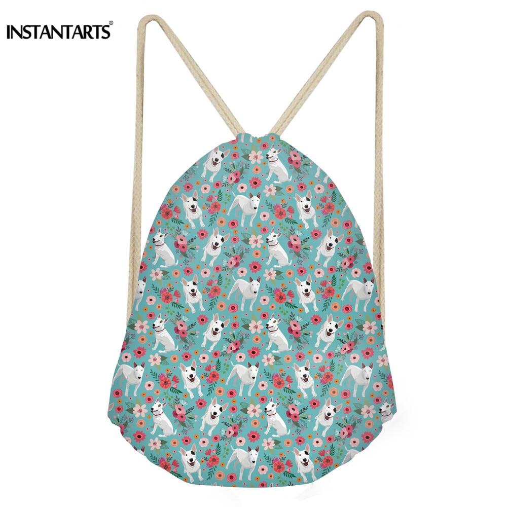 INSTANTARTS Fashion Drawstring Bag 3D Printing Cute Dog Flower BeaglesGreyhoundBull Terrier Feminina Mini Drawstring Backpack