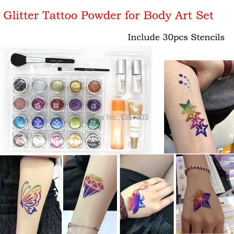 20 Color Glitter Tattoo Kit Body Painting Art With Powder Brushes Glue Stencils Temporary tattoo kit