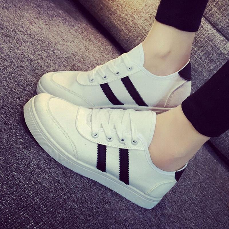 Toile Chaussures Respirant Low Casual up white 35 Femmes Top Dentelle Caoutchouc En X1044 Blanc Black Printemps Femme SE58Rq