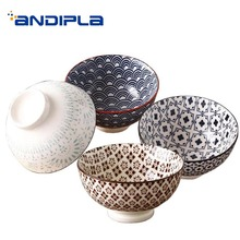 Японский стиль 4,5 дюймов керамический фарфор высокий рисовая чаша Ручная роспись Ramen чаша посуда суп Десерт маленький пищевой контейнер
