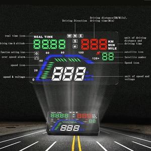 Image 3 - Projecteur de pare brise Q7 pour voiture, multicolore de 5.5 pouces, GPS, affichage tête haute, compteur de vitesse, survitesse, pour tableau de bord, projecteur de pare brise