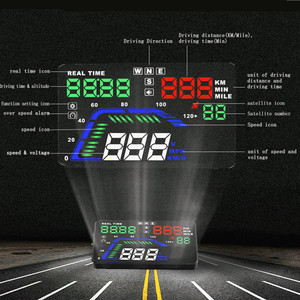 """Image 3 - Universal novo q7 5.5 """"multi cor carro automático hud gps cabeça up display velocímetros excesso de velocidade aviso dashboard brisa projetor"""