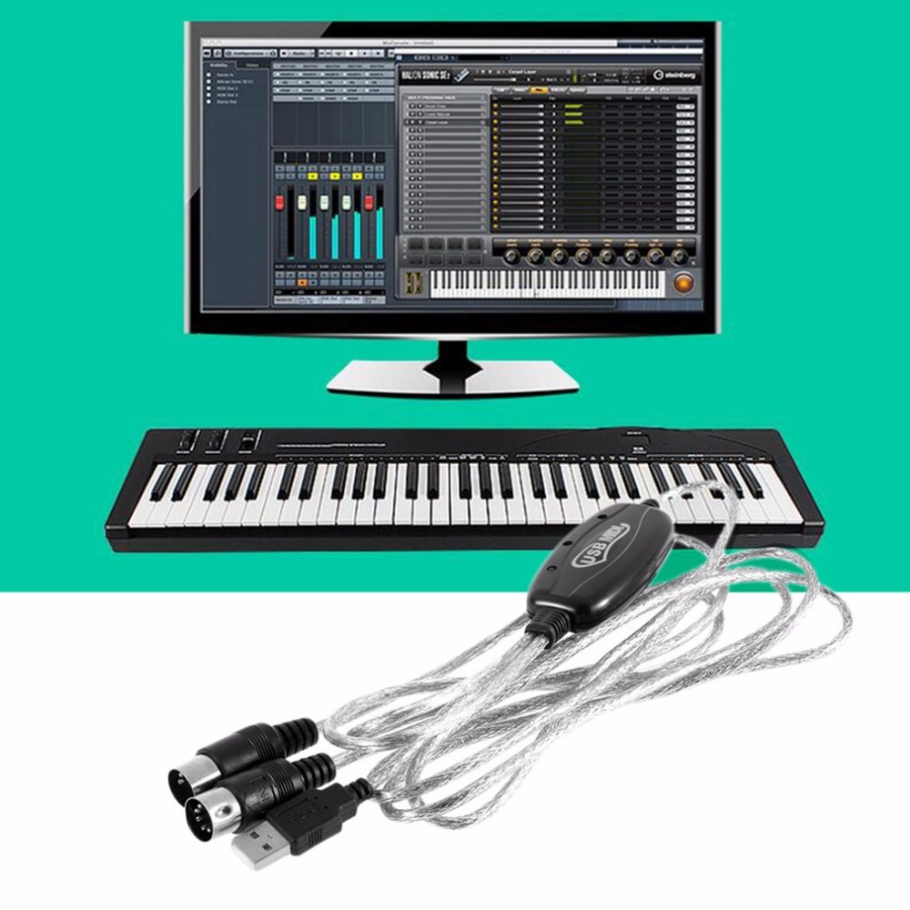 2M New USB IN-OUT MIDI Interface Cable Converter PC to Music Keyboard Cord przewód klawiatura midi