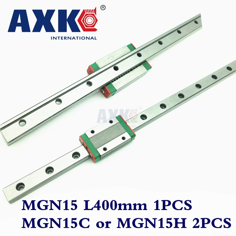 MGN15 Linear Rail Cnc Router Parts AXK New 15mm Miniature Linear Guide Mgn15 L= 400mm Rail + 2pcs Mgn15h or MGN15C Cnc Carriage new linear guide 1pc hgr25 l 1000mm 2pcs hgh25ca cnc rail block linear block cnc parts