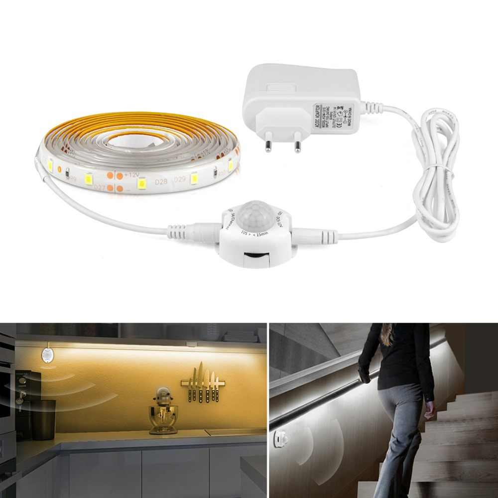 Aimengte DC12V Strip LED Motion Sensor Lampu Otomatis On/Off LED Flexible Tape 1M 2M 3M 4M 5M SMD2835 Tempat Tidur dengan Power Supply