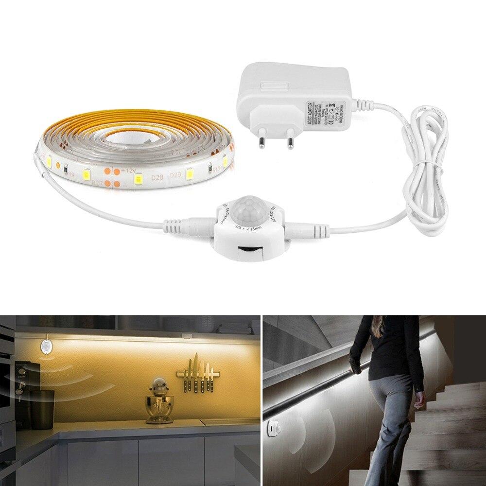 AIMENGTE DC12V LED Strip Motion Sensor Light Auto ON OFF Flexible LED Tape 1M 2M 3M AIMENGTE DC12V LED Strip Motion Sensor Light Auto ON/OFF Flexible LED Tape 1M 2M 3M 4M 5M SMD2835 Bed light with power supply