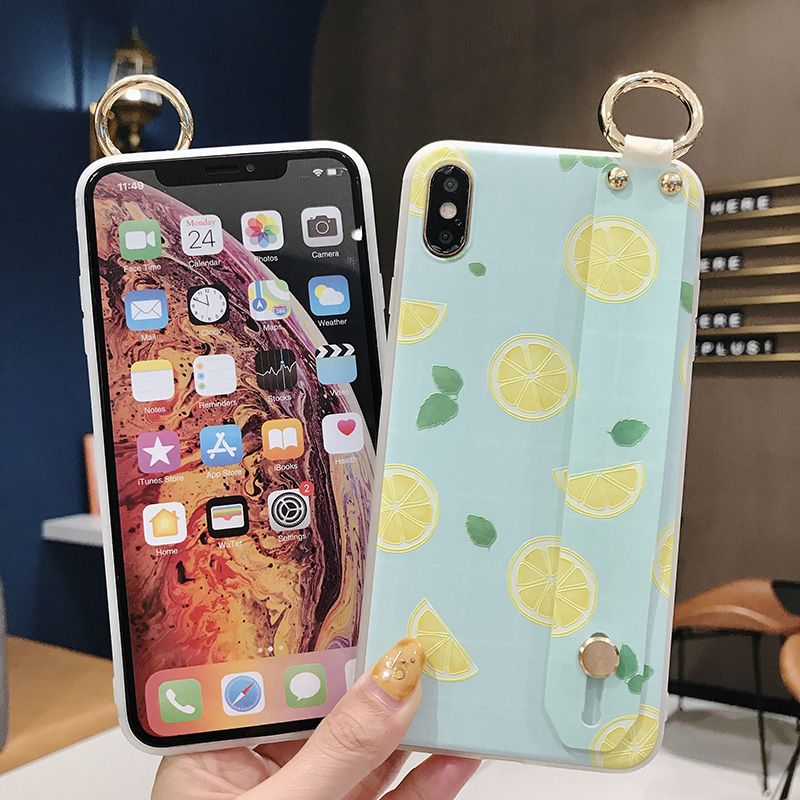 SoCouple Wrist Strap Phone Case For iphone Xs max Case For iphone X Xs XR 6 6S 7 8 plus Fruit Lemon Pattern Soft TPU Case Cover (9)
