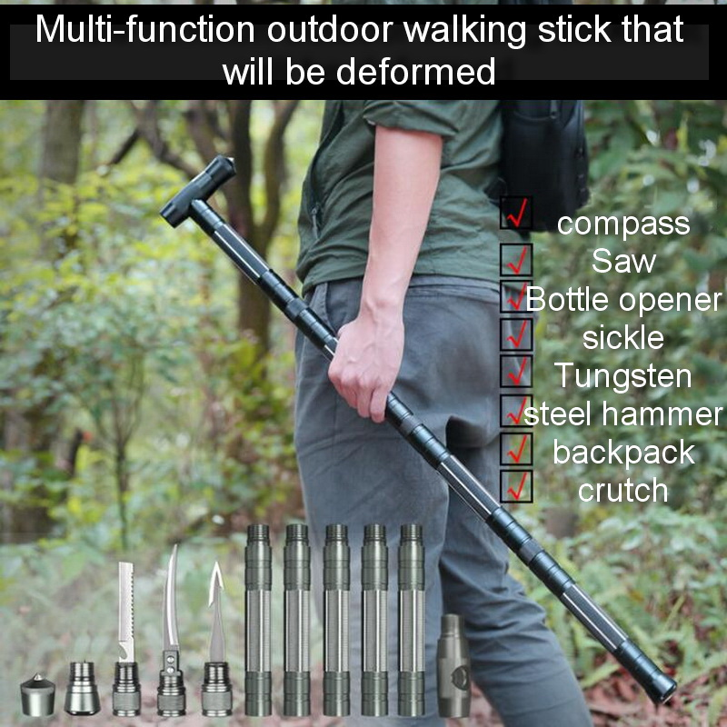 Aluminum outdoor multi-function EDC tools, camping self-defense climbing rods, hammers, compasses, saws, crowbars, hunting tools(China)