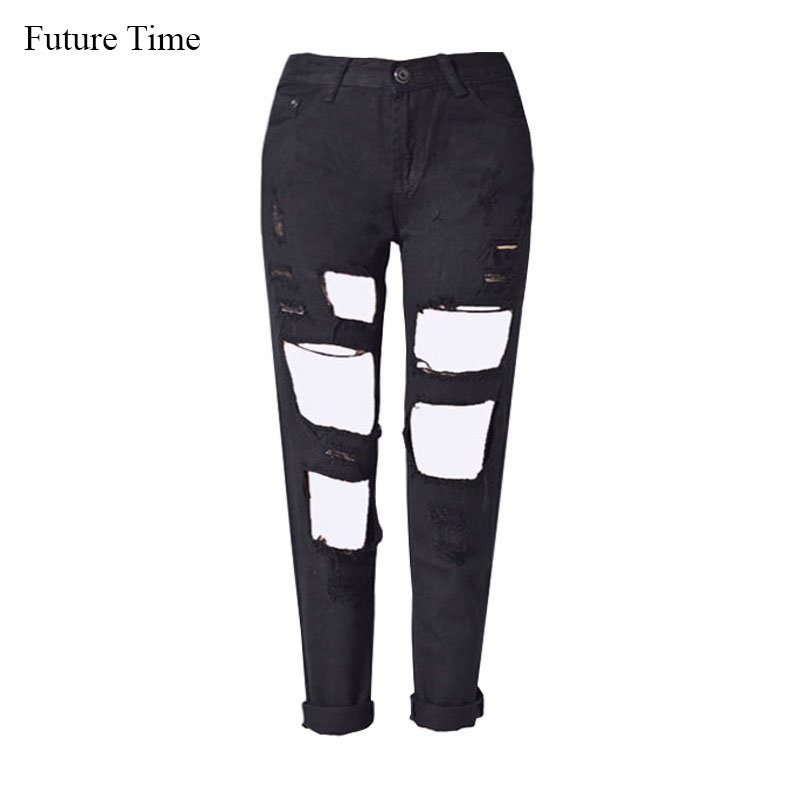 Future Time Hole Ripped Denim Jeans High Street Fashion Low Waist Boyfriend Ankle Length Jeans Female Loose Straight Jeans XK044