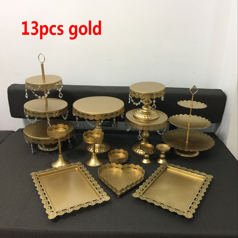 gold wedding cake stand set 13 pieces cupcake stand barware decorating cooking cake tools bakeware set party dinnerware