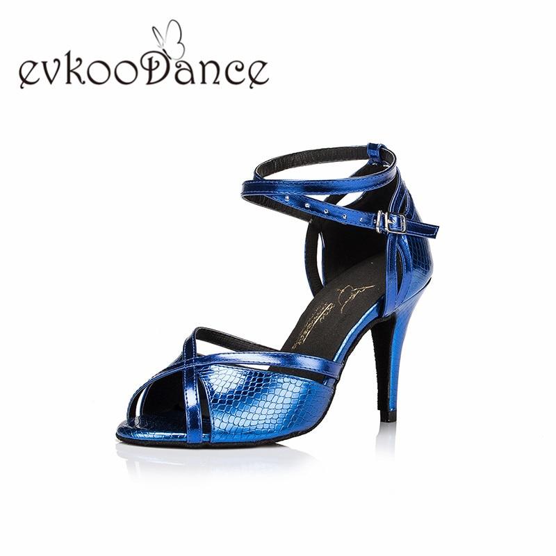 Evkoodance Heel Height 8.5 cm Blue Golden Purple PU Size US 4-12 Professional Latin dance Shoes For Women Evkoo-483Evkoodance Heel Height 8.5 cm Blue Golden Purple PU Size US 4-12 Professional Latin dance Shoes For Women Evkoo-483