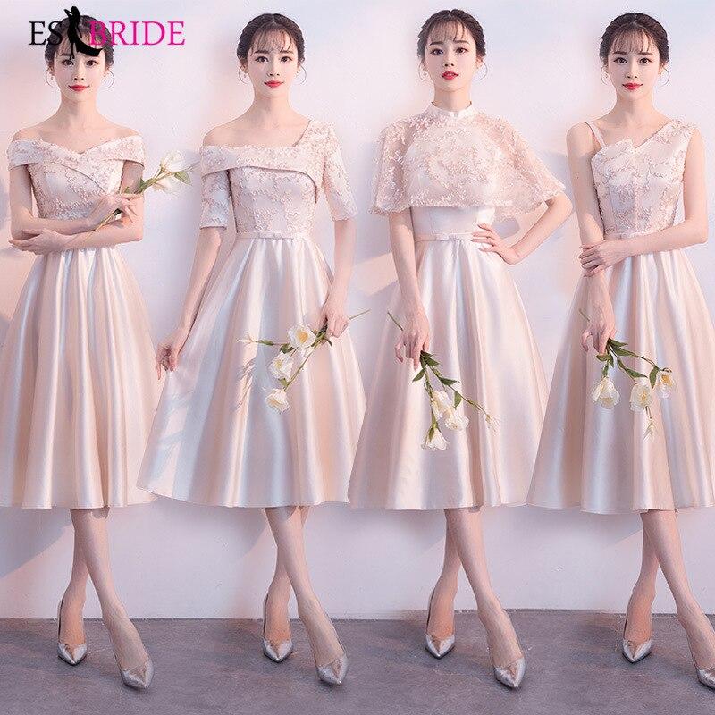 Nouveauté 2019 élégant robes de demoiselle d'honneur à manches courtes robe de bal Champagne a-ligne de mode robe de soirée robes de bal ES1654
