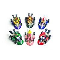 6 unids/lote Lindo Super Mario Bros Kart tira Del Coche Del PVC Figuras de acción Juguetes Colección Modelo de Juguete para Niños de Navidad Para Niños regalos