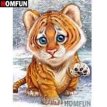 HOMFUN 5D DIY Full Diamond Embroidery Cartoon tiger Painting Cross Stitch Rhinestone Home Decoration A07841