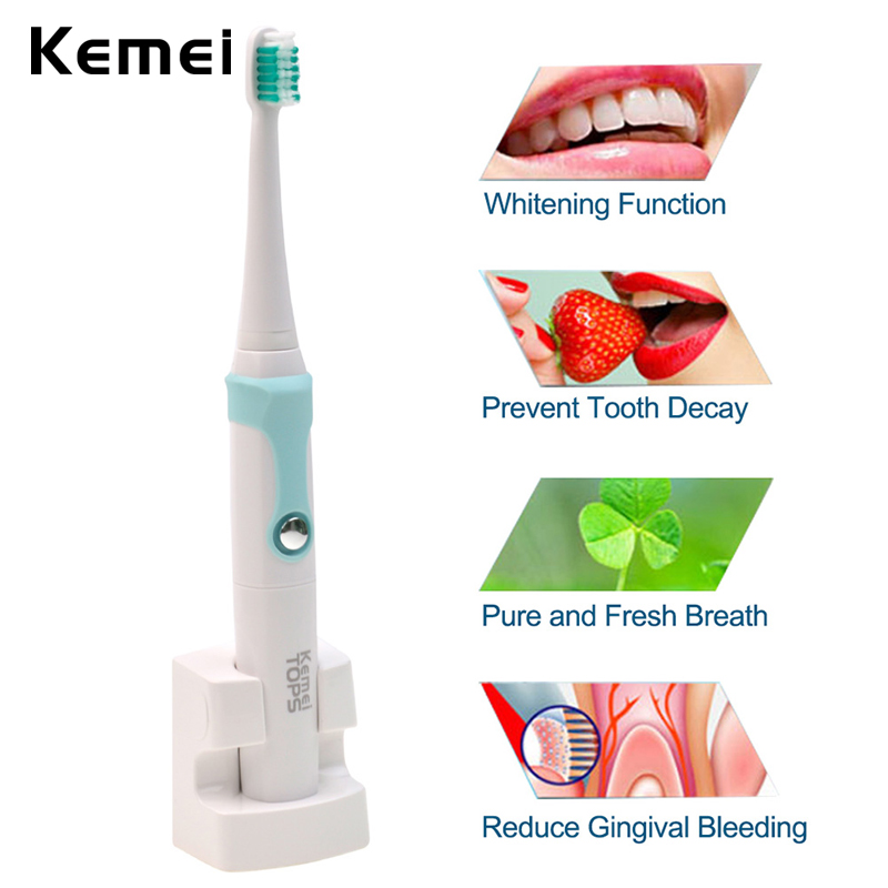 Kemei 30000/min Ultrasonic Toothbrush Rechargeable Electric Tooth Brush IPX7 Waterproof Family Electric Toothbrushes for Kids kemei 30000 min ultrasonic waterproof rechargeable electric toothbrush with 3 heads oral hygiene dental care for kids adults