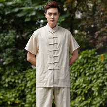 Chinese Tradtional Costume Mens Linen Suit Short-Sleeveless Shirt  Size M-3XL