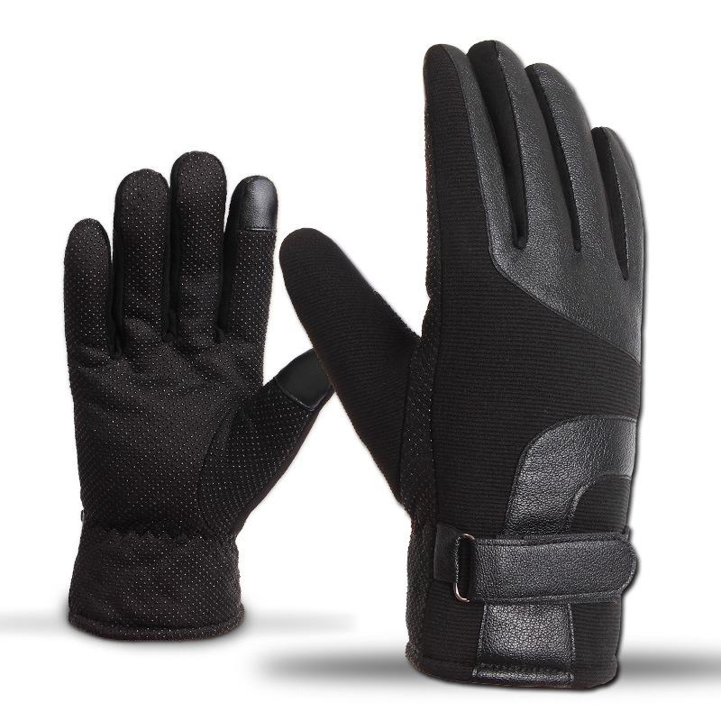 2018 Men's Gloves Leather Winter Touch Mittens Anti Slip