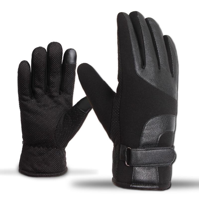 2018 Men's Gloves Leather Winter Touch Mittens Anti Slip Screens Thermal Glove Hand Warmer Gloves Men Gants Guantes Handschoenen