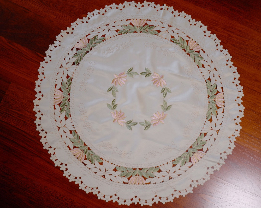 Buy Embroidery Cutwork Round Lace Tablecloth Home Decor Wedding Decoration