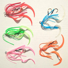 50pcs Silicone Rubber Skirt Rig Assist Hook Replacement for Slider Tai Kabura Jig Bottom Madai Squid Snapper Jigging FishingLure