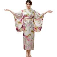 Japanese Traditional Women Silk Rayon Kimono Vintage Yukata With Obi Performance Dance Dress Halloween Costume One Size HL06