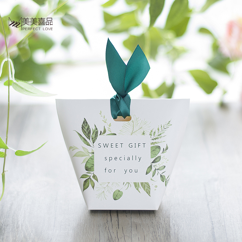 New European Green Tree Leaves Candy Box Wedding Favors And Gift Box Paper Bags Wedding Decorations Supplies Sugar Boxes