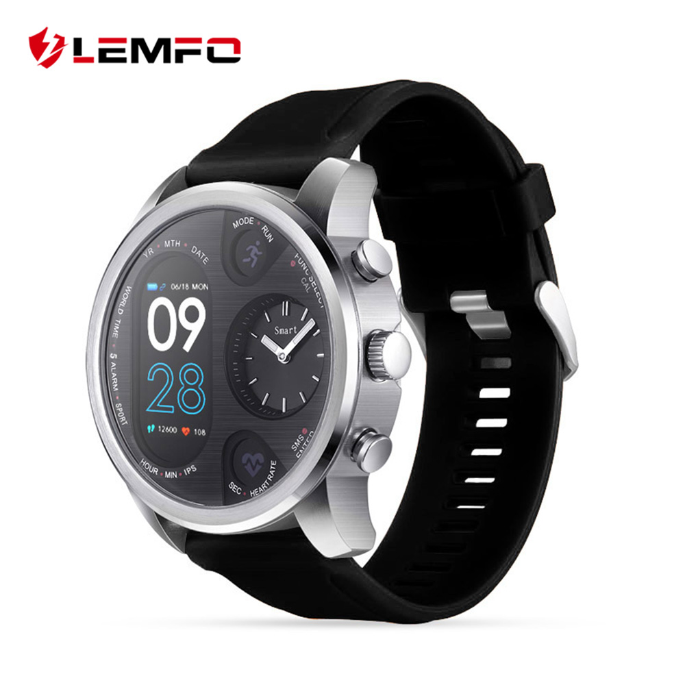 LEMFO T3 Dual Display Smart Watch For Men IP68 Waterproof Fitness Bracelet 15 Days Standby Business