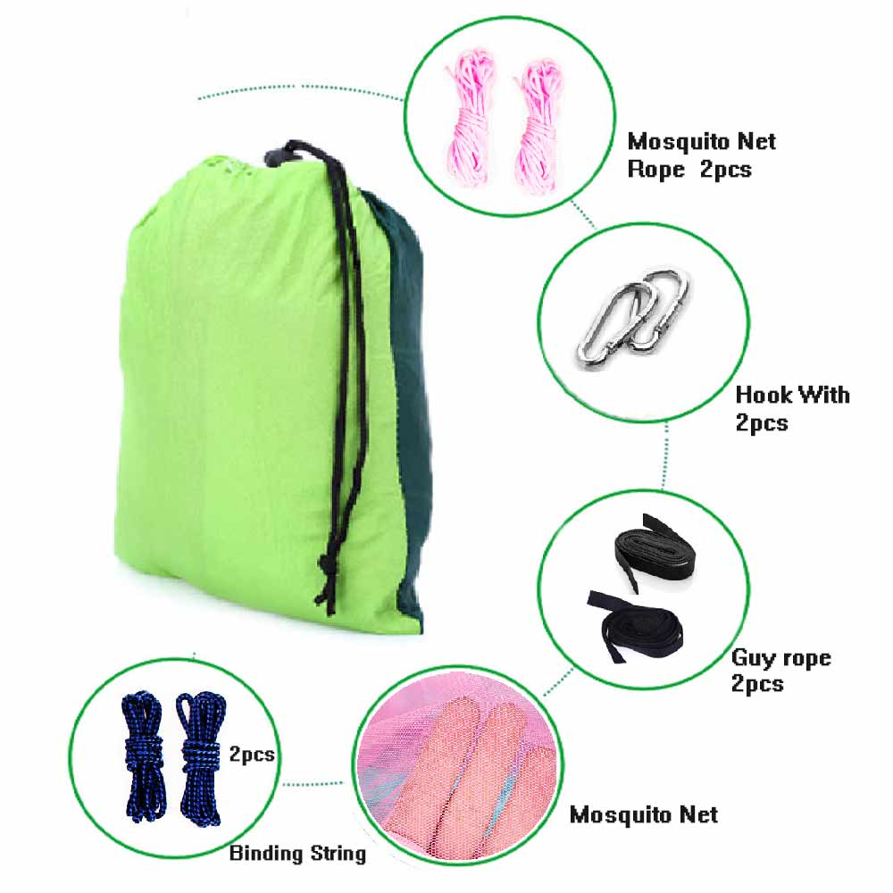 цена на hot Person Portable Parachute Fabric Mosquito Net Hammock for Indoor Outdoor Camping Using Newest Fashion Handy Hammock Single