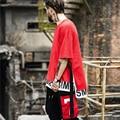 Estender T-Shirt Hip Hop T Camisa Longa peruca de Volta duas camadas dos ganhos T-Shirt de Algodão Tshirt Homme Skate Tyga Tees Black White Estender