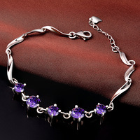 Jemmin Natural Crystal 925 Sterling Silver Bracelets For Women Fine Jewelry Accessory Amethyst Bangles Gift