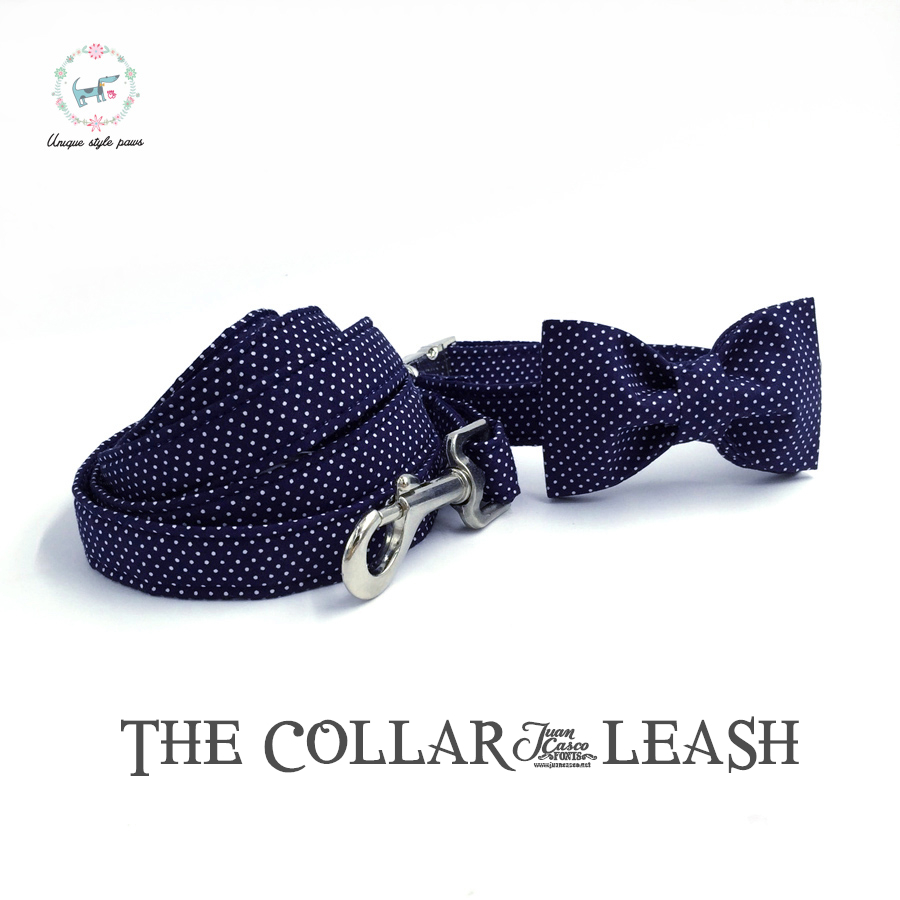 blue  dog collar and lead  set with bow tie  personal custom adjustable pet pupply100% cotton  dog &cat necklace and dog leash