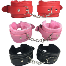 1 Pair Sex Game Handcuffs for Sex Product Pink Red Black Size could Adjusted Sex Toys for Adult QQ013