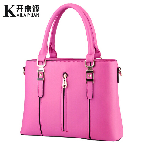 New 2017 fashion middle zip Cool women leather handbags solid color Elegant women messenger bags casual