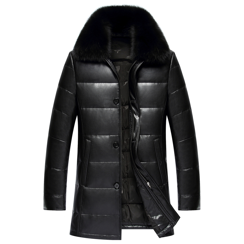 2017 New Long PU Fabric Duck   Down     Coat   Men Excellent Quality Real Fox Collar Vers Le Bas Doudoune Homme