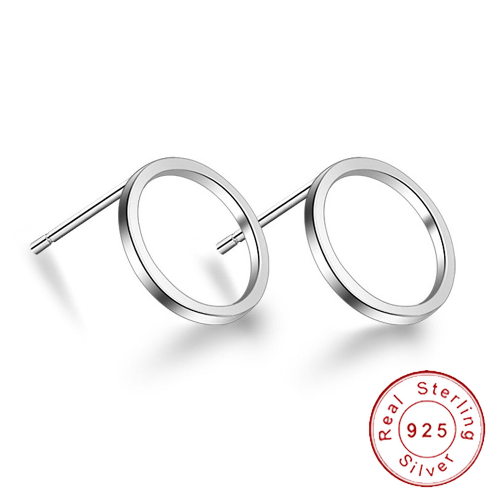 Minimalist 925 Sterling Silver Small Hollow Geometric Round Circle Square Stud Earrings Female Minimal Triangle Jewelry SE059