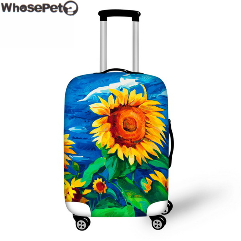 WHOSEPET Luggage Case Protective Covers 3D Sunflower Oil Painting for Trunk Case 18-30 Inch Travel Case Covers Thick Elastic